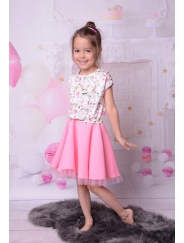 Kloszowana sukienka w kwiaty z tiulem dla dziewczynki