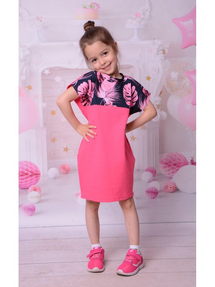 Bawełniana dresowa sukienka w liście dla dziewczynki