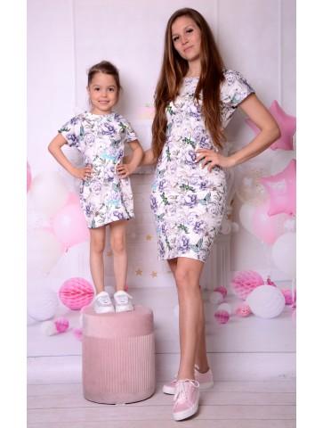 Sukienki w kwiaty motyle i ważki dla mamy i córki