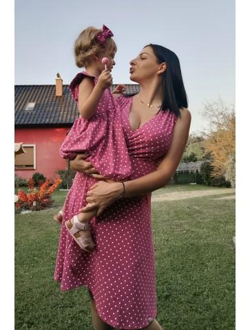 Sukienki kopertowe w serduszka dla mamy i córki