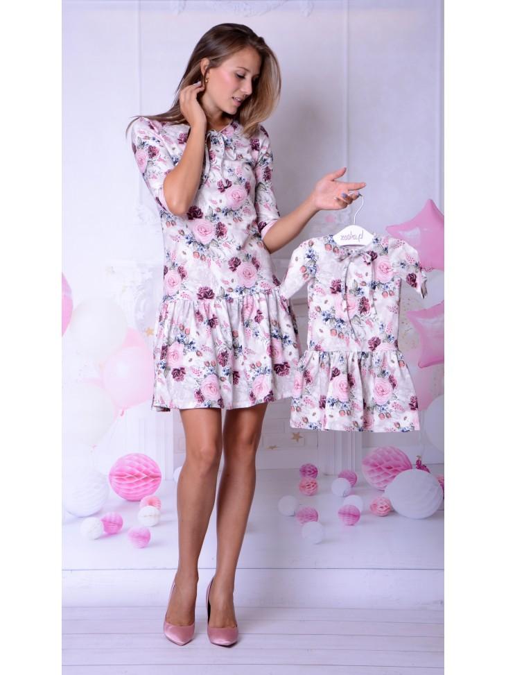 Sukienki mama + córka eleganckie w bordowe róże na jesień