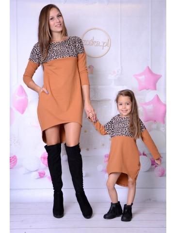 Wygodne sukienki karmelowe z panterką mama i córka