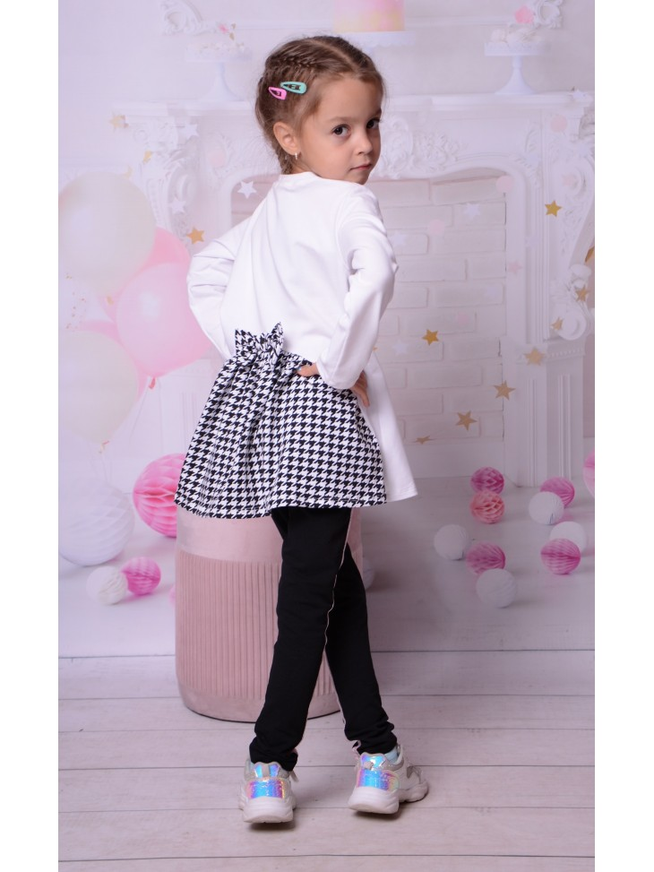 Bawełniana elegancka tunika pepitka dla dziewczynki