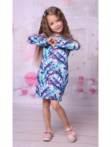 Sukienki niebieski tropik bawełna mama + Córka