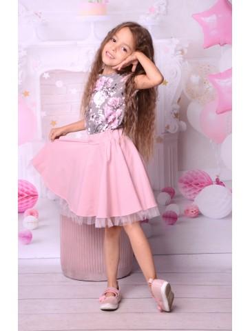 Sukienka kloszowana w kwiaty dla dziewczynki