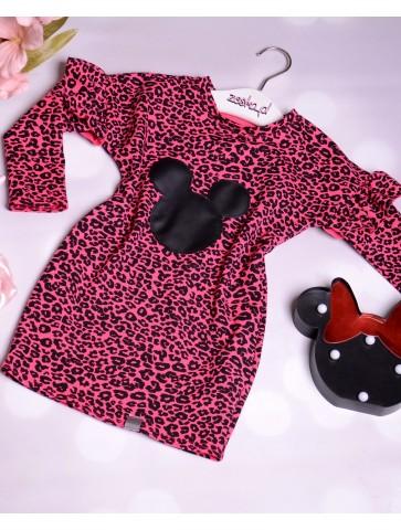 Bawełniana sukienka w panterkę dla dziewczynki