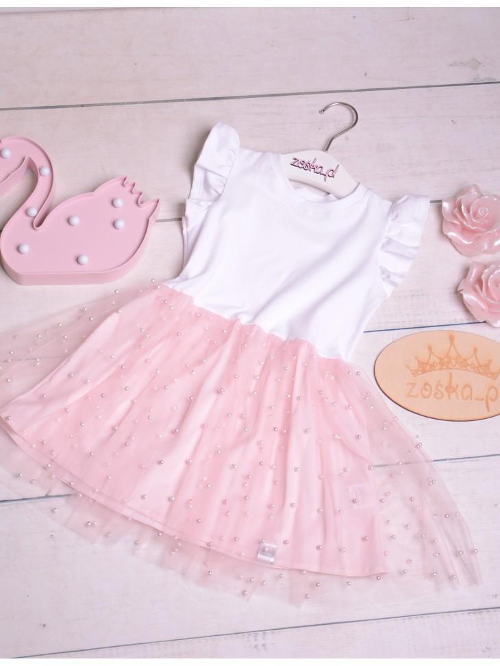 Wygodna sukienka z tiulem i perełkami dla dziewczynki