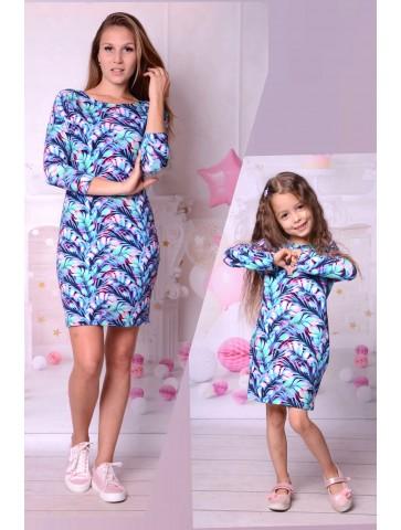 Niebieskie sukienki w liście dla mamy i córki