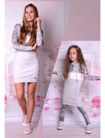Dresowe sukienki z kapturem szare dla mamy i córki