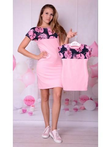 Wygodne dresowe sukienki z liśćmi dla mamy i córki