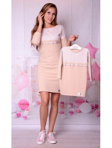 Bawełniane beżowe sukienki z pepitką mama + córka