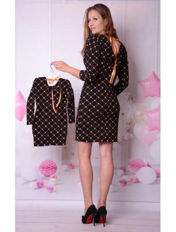 Czarno złote sukienki z kokardką dla mamy i córki