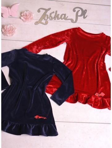 Welurowe sukienki dla dziewczynek na święta