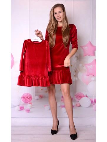 Świąteczne czerwone welurowe sukienki dla mamy i córki