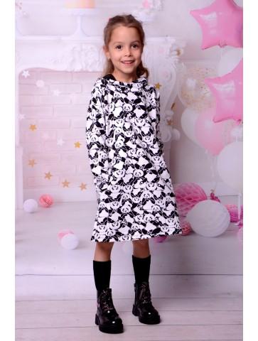 Sukienka pandy z kapturem dla dziewczynki