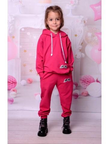 Amarantowy bawełniany dresik dla dziewczynki