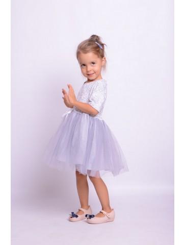 Srebrne sukienki tiulowe dla mamy i córki