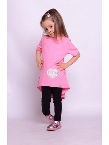 Tunika dla dziewczynki neon róż dłuższy tył
