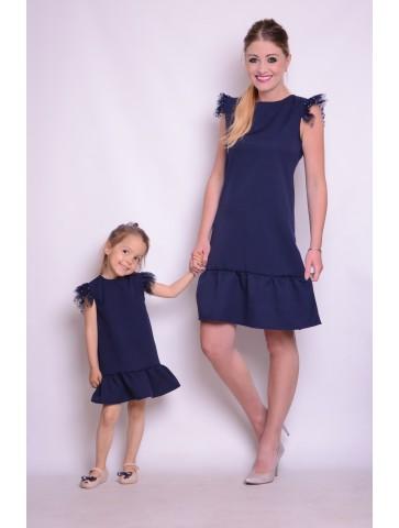 Granatowe eleganckie sukienki dla mamy i córki na wesele.