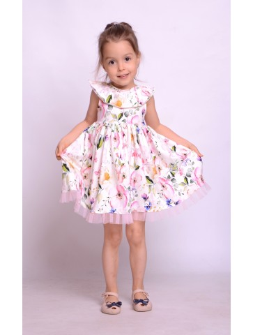626fa853aa Kloszowana Sukienka w kwiaty z tiulem dla dziewczynek na lato.