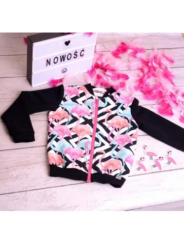 Bluza Bomber Flamingi dla dziewczynki.
