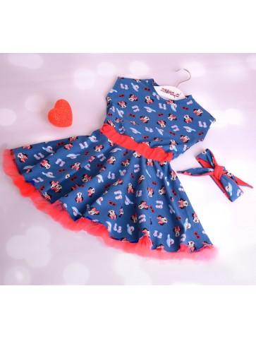 Niebieska sukienka pin up z myszkami Minnie