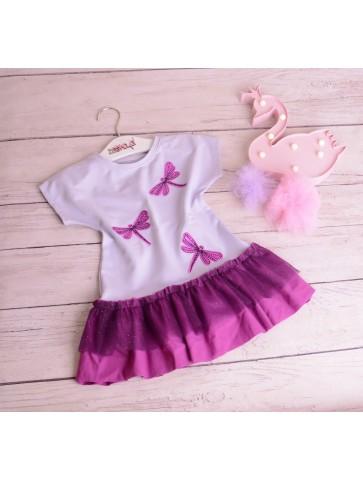 Liliowo fioletowa sukienka z falbanką tiulową
