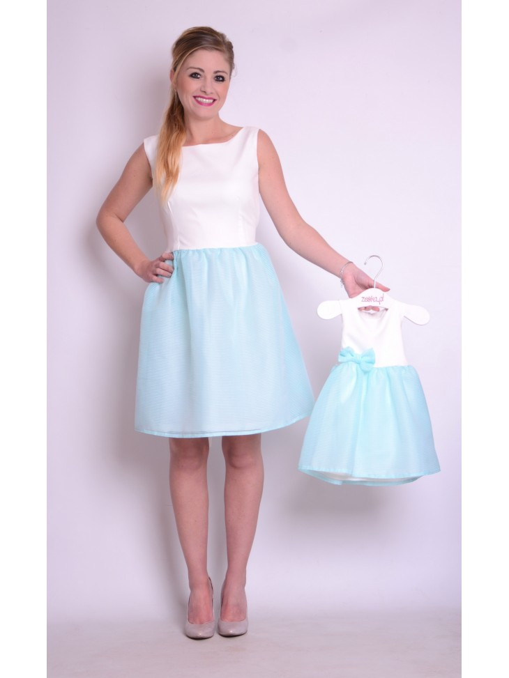 518079f08ff98c Piękne sukienki z tiulem w kolorze turkusowym dla mamy i córki.