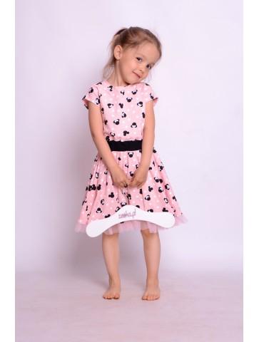 Sukienka kloszowana w grochy z tiulem i Myszkami Minnie dla dziewczynki.