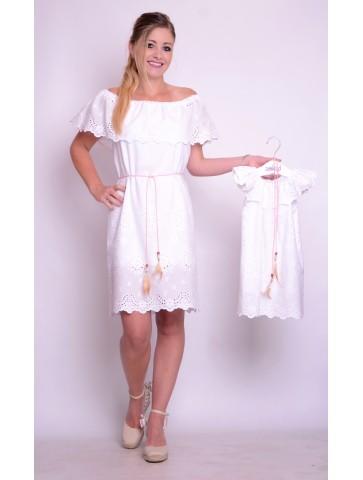 Letnia biała sukienka boho dla mamy i córki