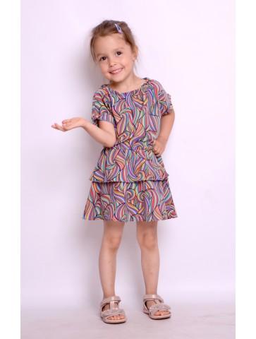 Tęczowa sukienka na lato dla dziewczynki