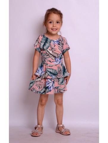 Letnie różowe sukienki dla dziewczynek liście palmy