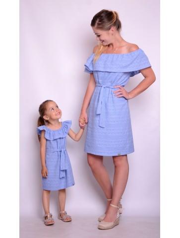 Niebieskie bawełniane haftowane sukienki dla mamy i córki
