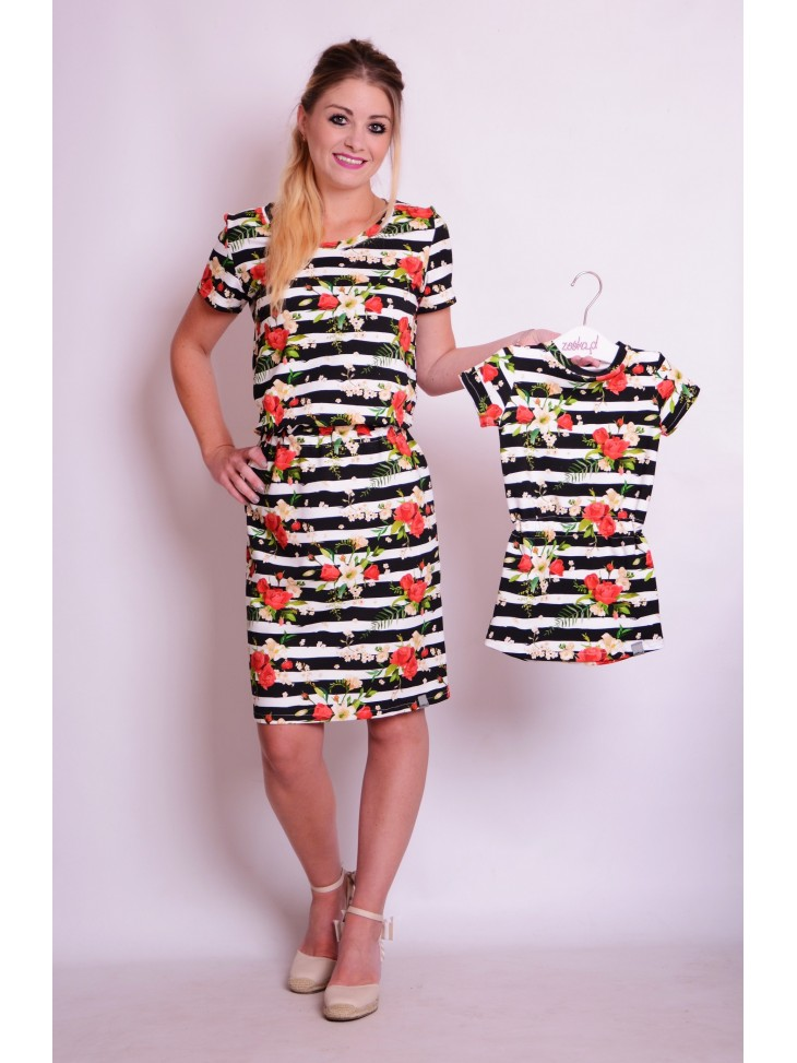 Letnie sukienki w paski i kwiaty dla mamy i córki