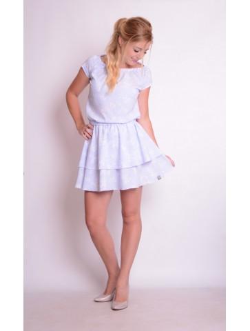 Błękitne letnie sukienki z falbankami dla mamy i córki