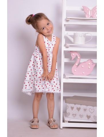 Letnia biała sukienka biedroneczki dla dziewczynki