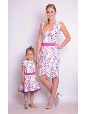 Eleganckie sukienki z tiulem w kwiaty dla mamy i córki