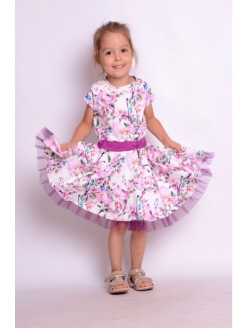Kloszowana sukienka pin-up w kwiaty dla dziewczynki