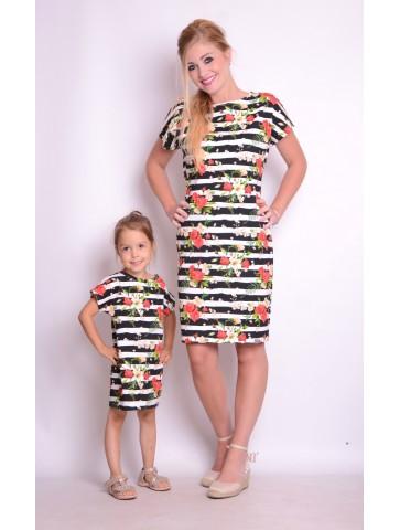 Piękne letnie sukienki w pasy dla mamy i córki