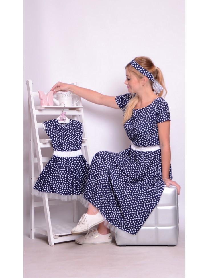 Sukienka pin-up granatowa grochy groszki mama i córka