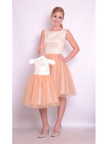 Tiulowe sukienki złoto karmelowe mama + córka na wesele.