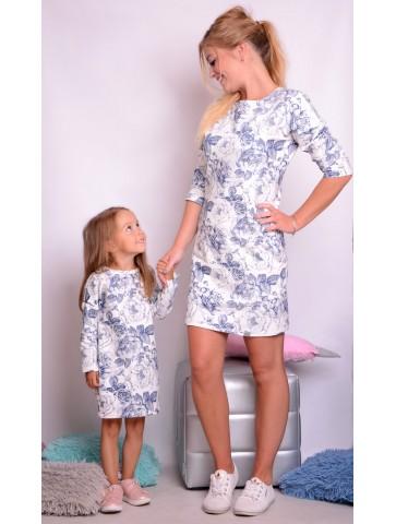 Sukienki dla mamy i córki róże retro