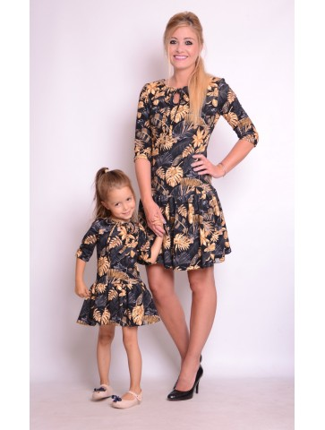 Sukienki dla mamy i córki złote liście