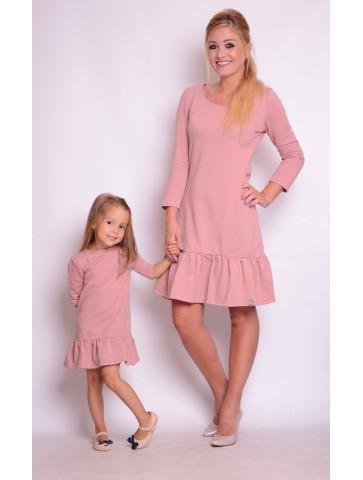Sukienki dla mamy i córki z falbanką i sercem