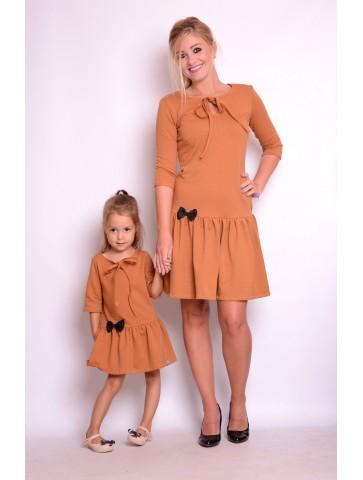 Sukienki jesienne cynamonowe mama i córki