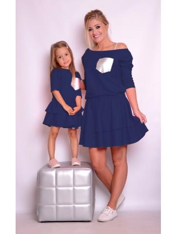 Granatowe Sukienki z falbankami dla mamy i córki