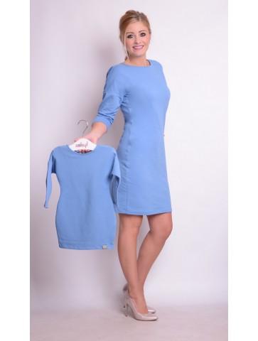 Niebieskie sukienki z dekoltem dla mamy i córki