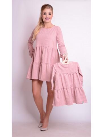 Rosa Tupfenkleider für Mutter und Tochter