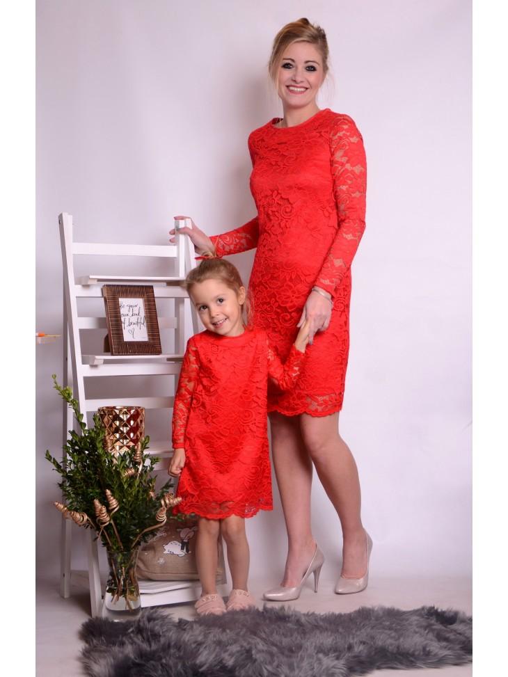 Czerwone świąteczne sukienki z koronki dla mamy i córki