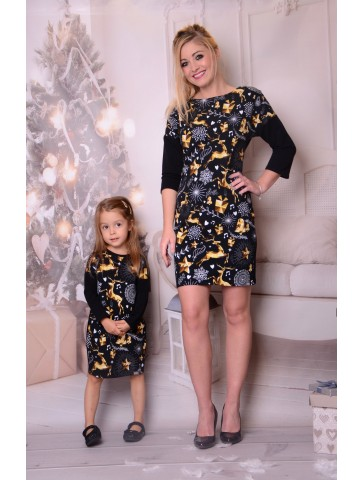 Gold Rentiere Mutter + Tochter Kleider